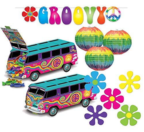 Beistle Groovy 60's Party Decorations Kit with Streamer, Centerpiece, Cutouts, and Paper Lanterns]()