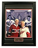 AJ Sports World HOWG10650B 21 x 25 in. Gordie Howe & Jean Beliveau Dual Signed Original Six Legends Frame