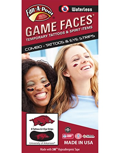 - University of Arkansas (UARK) Razorbacks – Waterless Peel & Stick Temporary Tattoos – 12-Piece Combo – 8 Red/Black/White Tusk Logo Spirit Tattoos & 4 Red/Black/White Tusk Logo on Black Eye Strips