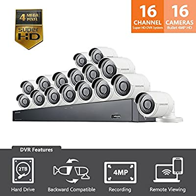 Samsung Wisenet SDH-C85100-16 16 Channel 4MP Super HD DVR Video Security System with 2TB Hard Drive and 16 4MP Weather Resistant Bullet Cameras (SDC-89440BF) from Hanwha Techwin America