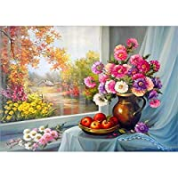 Diamond Painting Kits for Adults, Kids. Home Decoration, Room Office The Scenery and Flowers Outside The Window 15.7x11.8in 1 Pack by SinyaBRA