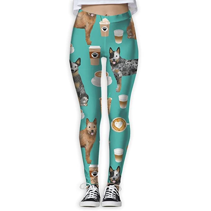 42496a6d7ddcf9 Image Unavailable. Image not available for. Color: JDDFFAAOK Women's Yoga  Pants Yoga Australian Cattle Dog Printed Workout Leggings ...