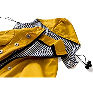 Ellie Dog Wear Yellow Zip Up Dog Raincoat With Reflective Buttons, Pockets, Rain/Water Resistant, Adjustable Drawstring, Removable Hoodie - Extra Small to Extra Large - Stylish Dog Raincoats By (M)