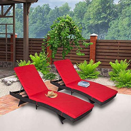 Kinbor 2-Pack All-Weather Outdoor Patio Adjustable Backrest Lounge Chairs Furniture PE Wicker Chaise Lounge with Removable Cushions