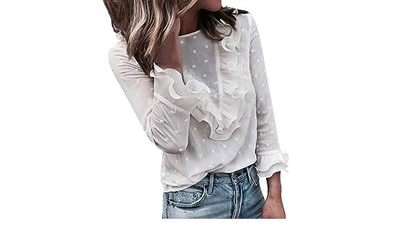 JURTEE Camisa Mujer Lunares Moda Encaje Volantes Cuello ...