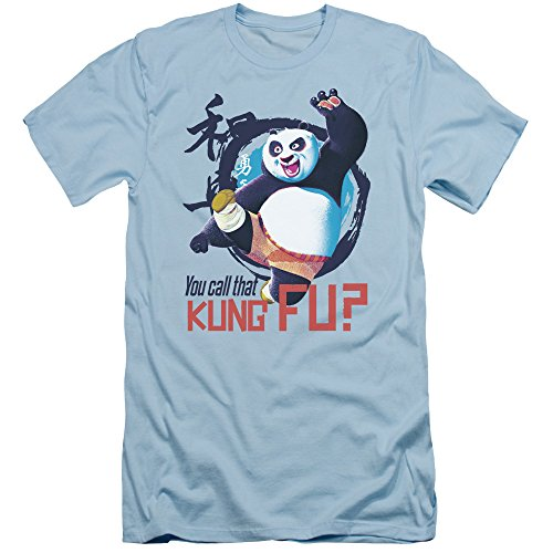 Kung Fu Panda Kung Fu Slim Fit Unisex Adult T Shirt for Men and Women, Small Light Blue