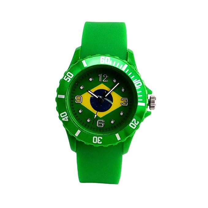 Reloj con la bandera de Brasil con pulsera de Silicona