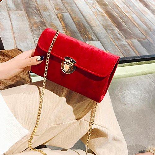 a dorato messaggero Borse Donna Rosso Messenger borsetta Piccolo Borse del Casuale tracolla puro Nuovo Spalla BYSTE Borse Borse Crossbody Colore Velluto xBqOfpnwS