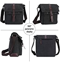 529475ebabf2 Wowelife Mens Small Messenger Bag Black Vintage Canvas Shoulder Bag ...