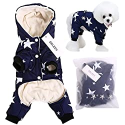 QBLEEV 2017 New Pet Dog Vest Jackets Coat Puppy Outfit Clothes Climate Changer Cotton Nylon Fleece Costumes Cozy Elastic Waistband Windproof Husky Golden Retriever Red Blue (M, Blue)