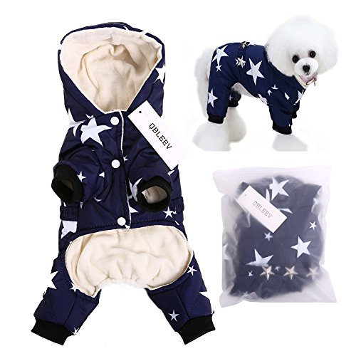 Please Adopt Me Costume (QBLEEV 2017 New Pet Dog Vest Jackets Coat Puppy Outfit Clothes Climate Changer Cotton Nylon Fleece Costumes Cozy Elastic Waistband Windproof Husky Golden Retriever Red Blue (S, Blue))