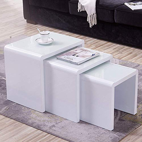 Mecor Nesting Coffee Table, 3 Piece Glass Top Side End Table W/High Gloss White for Living Room (Set of 3, MDF)