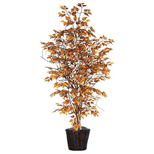 Golden Orange Tree - Vickerman TEX2160 Golden Birch Tree, 6', Yellow/Orange