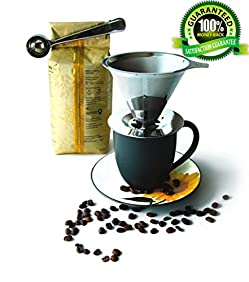 Coffee Dripper Stainless Steel - Reusable Permanent Pour Over Filter Cone and Brewer - Drip Coffee Maker - Double Layer Mesh Filter and Coffee Scoop with Bag Clip - Large Single Serve Cup (4cup)