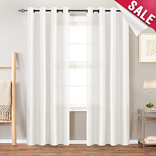 - Faux Silk White Curtains for Bedroom 84 inch Length Dupioni Window Curtain Panels for Living Room Satin Drapes Light Reducing Window Treatment Set, Grommet Top, 2 Panels