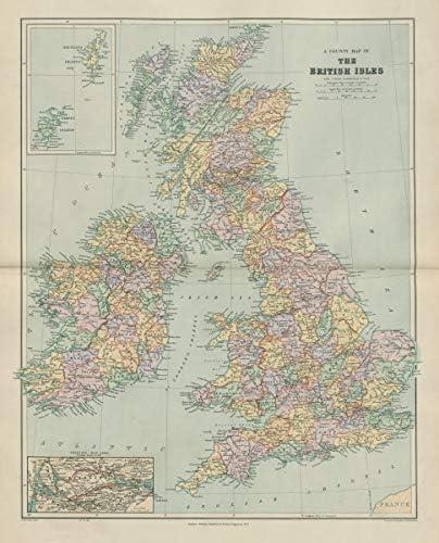 Map Of England Ireland And Scotland.Amazon Com County Map Of The British Isles England Ireland