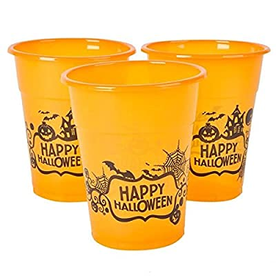 """Halloween Orange Happy Halloween Plastic Party Disposable Cups - Bulk Pack of 50, 6"""", 8oz. Cups by Neliblu"""