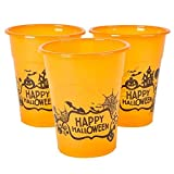 Halloween Orange Happy Halloween Plastic Party Disposable Cups – Bulk Pack of 50, 6″, 8oz. Cups by Neliblu Review