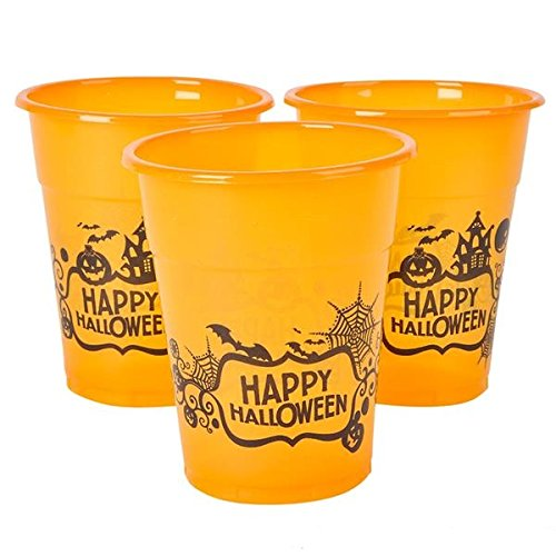 Halloween Orange Happy Halloween Plastic Party Disposable Cups - Bulk Pack of 50, 6