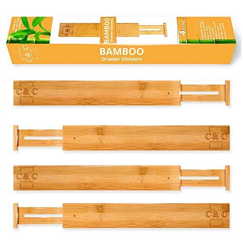 Bamboo Drawer Dividers - Spring Adjustable Kitchen Drawer Organizers - Set of 4 Bamboo Drawer Organizer - Drawer Divider for the Kitchen, Bedroom, Dresser organizer, Office, Bathroom - Natural Drawer