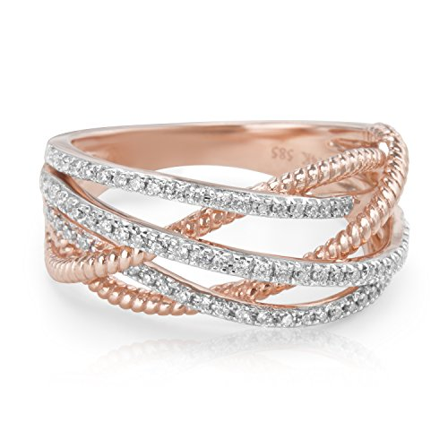 BRAND NEW Crossover Diamond Ring in 18K White and Rose Gold (1.76 CTS) by Loved Luxuries