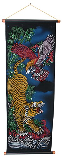 Retro Style Velvet Scroll with Eagle and Tiger