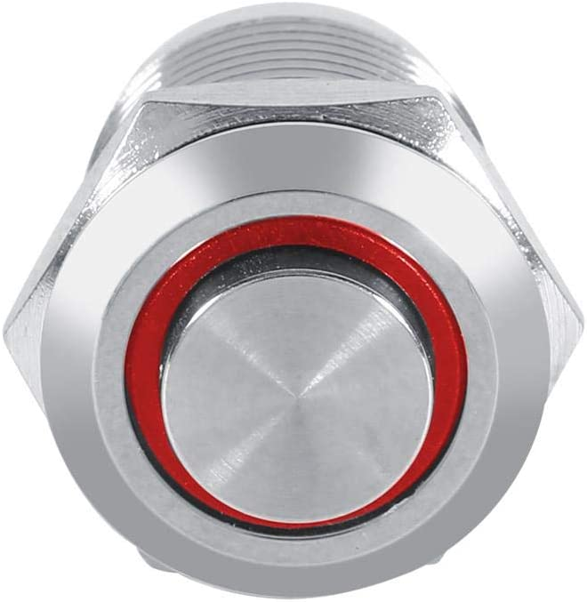Waterproof Metal Push Button Circle Switch 4 Pin Led Power Push Button 2V 3V Auto 1NO Switch Power Push Button Switch Blue