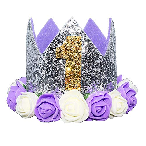 Glitter 1/2 1st 2 3 Birthday Princess Flower Crown Tiara Cake Smash Photo Prop (Purple White Flower 1)