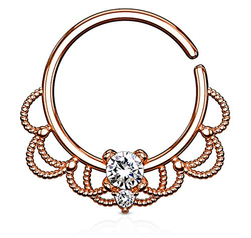 16g Rose Gold Plated Brass Filigree Septum and Cartilage Hoop with Clear CZ Crystal Center