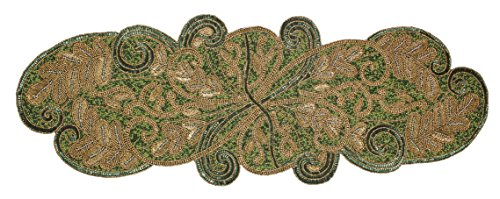 Cotton Craft - Beaded Table Runner - Scrolling Leaves - Gree