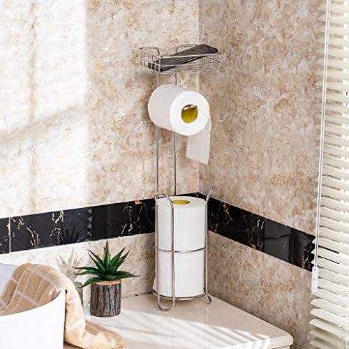 m·kvfa Free Standing Toilet Paper Holder for Bathroom Storage Brushed Stainless Simple -