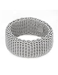 Sterling Silver Women's Mesh Ring Wholesale Pure 925 Wide Band 10mm Sizes 5-10