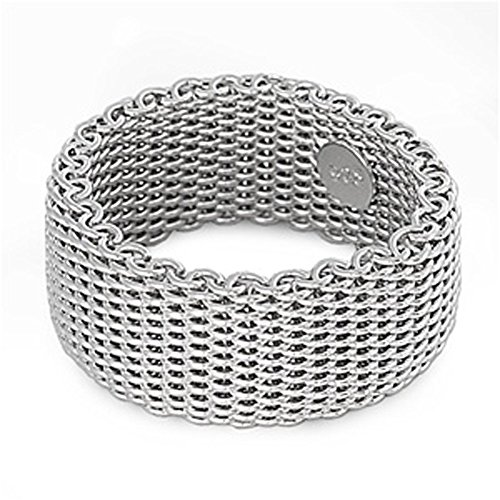 Sterling Silver Women's Mesh Ring Wholesale Pure 925 Wide Band 10mm Size 8 ()