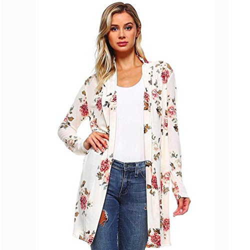 UBuyit Women's Fall Long Sleeve Floral Print Kimono Cardigan Blouse Open Front Shirt Shawl Tops (White, L)