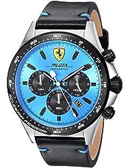 Scuderia Ferrari Mens PILOTA Quartz Stainless Steel and Leather Casual Watch, Color:Black (Model: 0830388)