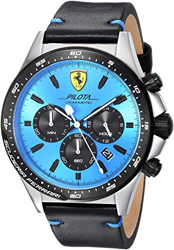 Scuderia-Ferrari-Mens-PILOTA-Quartz-Stainless-Steel-and-Leather-Casual-Watch-ColorBlack-Model-0830388