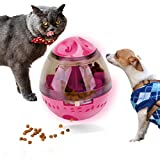 Noyal Pet Food Ball - FUN and INTERACTIVE Treat-dispensing Ball for Dogs & Cats: Increases IQ and MENTAL stimulation: BEST alternative to Bowl Feeding : Easy to CLEAN (Red)