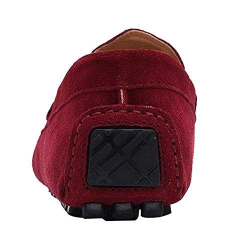 rismart Homme Conduite Voiture Flâneurs Glisser Sur Suède Cuir Plat Mocassins Chaussures K0085(Rouge,EU42)