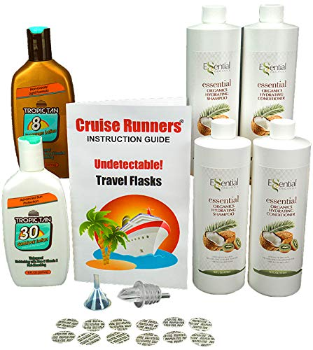(Fake Shampoo & Conditioner Sunscreen Bottle Flasks for Cruise Hide Liquor Enjoy Rum Runners Booze by CRUISE RUNNERS® Sneak Alcohol Smuggle Flask Kit on Cruises)