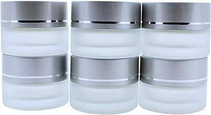 6 leer Glastiegel Weiß 15 ml Tiegel Cremedose Glas Kosmetikdose Cremetiegel