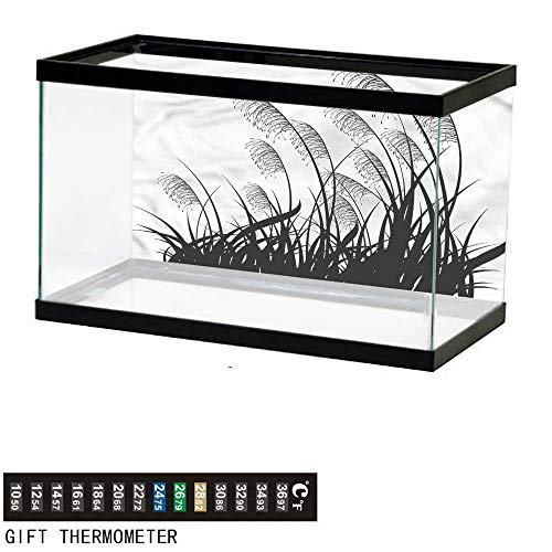 bybyhome Fish Tank Backdrop Black and White,Bushes Wild Field,Aquarium Background,60