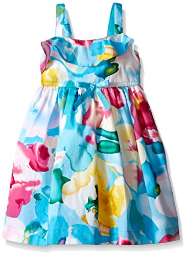 Blueberi Boulevard Little Girls Challis Watercolor Print Sundress, Multi,