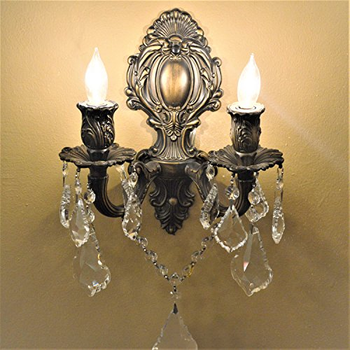Worldwide Lighting W23313B12 Versailles 2 Light Candle Wall Sconce, Antique Bronze Finish and Clear Crystal, Medium Fixture, 12'' W x 13'' H by Worldwide Lighting (Image #3)
