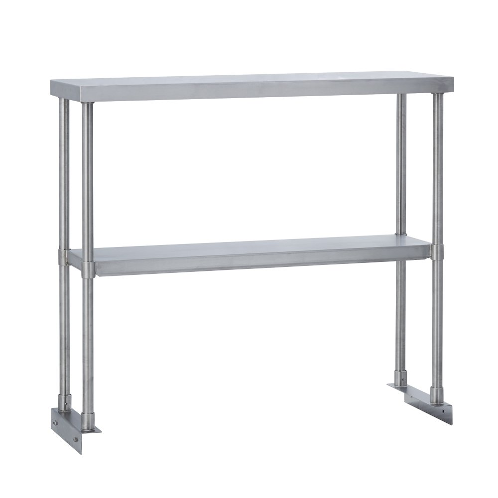 Fenix Sol Commercial Kitchen Stainless Steel Double Overshelf for Work Tables, 12'' W x 48''L x 31''H, NSF Certified