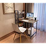 """Soges Computer Desk 47"""" PC Desk Office Desk with Bookcase Workstation for Home Office Use Writing Table, Walnut HZ-WCA"""