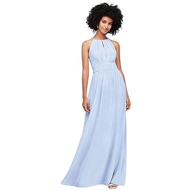 fa8887d0a1b1d David's Bridal High-Neck Chiffon Bridesmaid Dress with Keyhole Style  F19953, Ice Blue,