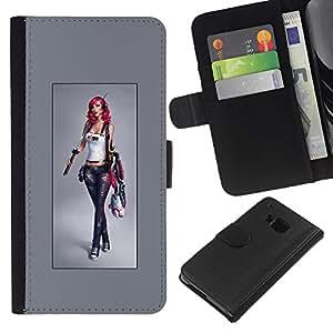 Planetar® Modelo colorido cuero carpeta tirón caso cubierta piel Holster Funda protección HTC One M9 ( Cool Hipster Girl Woman Grey Tanktop Babe )