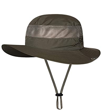 78344c82c16d4 Tpingfe Windproof Fishing Hats Wide Brim Sun Protection Hat Outdoor Mesh Fishing  Cap (Army Green