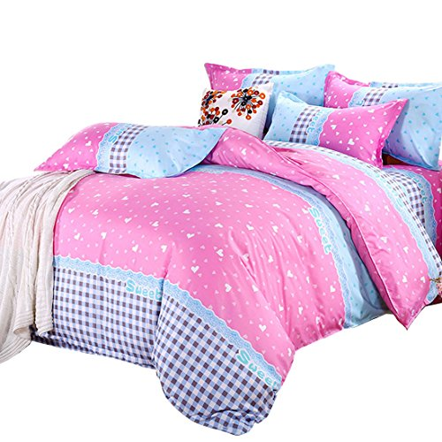 uxcell Hearts Duvet Cover Pillowcase Quilt Cover Bedding Set
