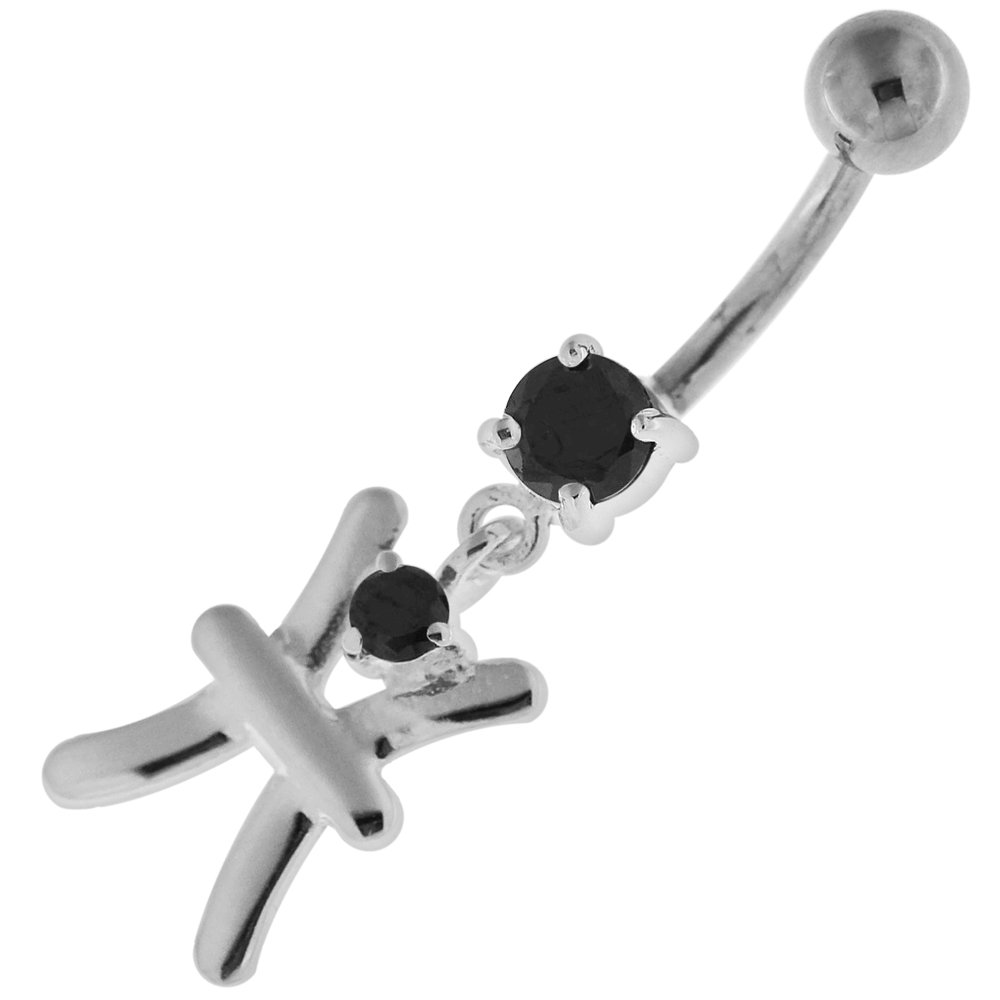 Fancy H Shape Dangling 925 Sterling Silver with Stainless Steel Navel Button Ring